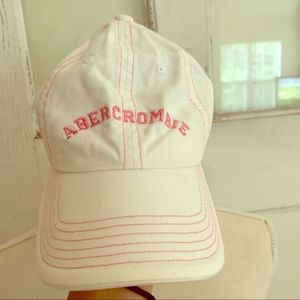 Abercrombie Kids Hat! White with pink detail! OS